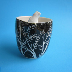 Black & White Bird Vase