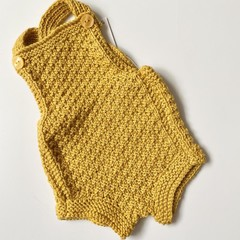 Mustard Baby Romper - Size 0-3 months - hand knitted a wool cotton blend yarn