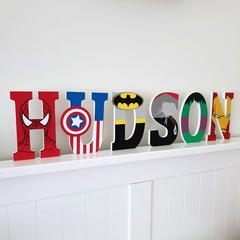 Name Plaque for Wall or Door. 15cm Super Hero Theme. 6 letters
