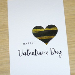 Valentines Day  Card - black and gold heart