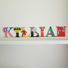 Name Plaque for Wall or Door. 9cm Super Hero Theme. 7 letters