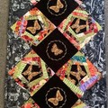 Quilted Table runner - Japanese print- Butterfly themed -