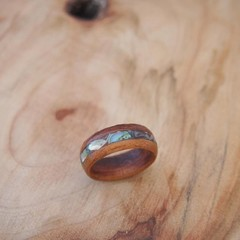New Guinea Rosewood wood Ring with Paua Shell Inlay.