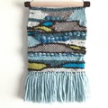 Handwoven Wall Hanging - Blue Brown Lime Cream - 45 x 22.5cm - Woven Tapestry