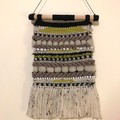 Handwoven Wall Hanging - Fawn Black Lime Cream - 33.5 x 23cm - Boho wall