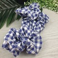 Gingham Scrunchie - Blue and White