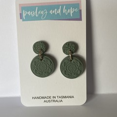 Gorgeous sage  polymer clay dangles with imprint