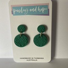 Gorgeous green polymer clay dangles with imprint