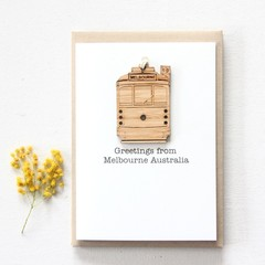 Tram removable decoration card Melbourne Australia