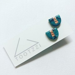 """MINI MARBLEOUS Studs - """"Tranquil"""" w/ Copper Accent (iii)"""