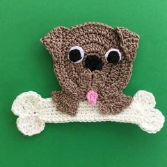 Dog with a Bone Crochet Applique