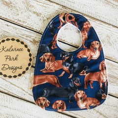 """Dachshund"" Cotton Bib Buy 3 bibs get the 4th free and free post"