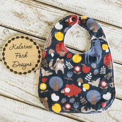 """""""Forest Critters"""" Cotton Bib Buy 3 bibs get the 4th free and free post"""