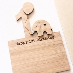 1st Birthday Card, Bamboo Card, Girl 1st Birthday Card, Boy 1st Birthday Card