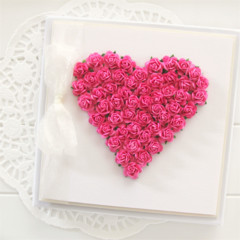 Gift boxed heart card boxed hot pink paper roses Blank Birthday Mother's Day
