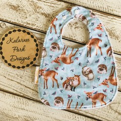 """""""Foxes & Deer"""" Cotton Bib Buy 3 bibs get the 4th free and free post"""