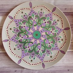 Mandala style hand painted decorative ceramic plate,Purple green jade lovers