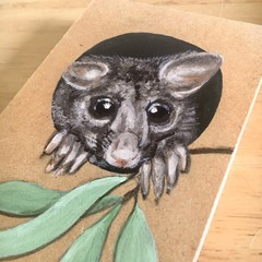 Brushtail Possum painting on wood block - Bushfire Crisis fundraiser