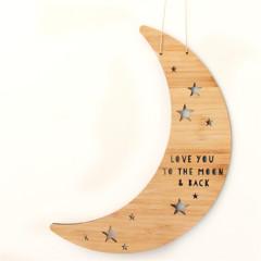 Moon & Back wall art bamboo laser cut nursery baby