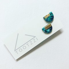 """MINI MARBLEOUS Studs - """"Tranquil"""" w/ Gold Accent (ii)"""