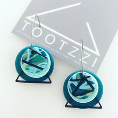 """""""Habitat"""" Texture Hoops - Aqua + Emerald"""