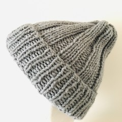 Grey knitted beanie small adult or teenager alpaca knit