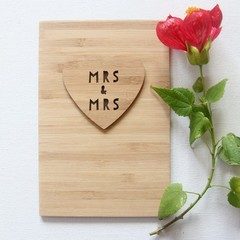 Mrs & Mrs Wedding Card, Bamboo Card, Bride Card, Mrs and Mrs, Anniversary Card