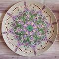 Mandala style hand painted decorative ceramic plate,Purple green jade lovers