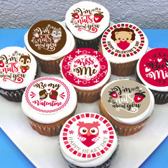 Valentines Love Edible Icing Cupcake Toppers - PRE-CUT Sheet of 15 - EI264C