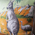 Vintage Retro Australian KANGAROO & EMU Cushion Cover