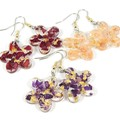 Flower shaped earrings with petals and gold foil
