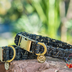 Midnight Shine Metallic Macramé Dog Collar
