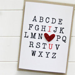 Love card I love you alphabet red heart Valentine's day Anniversary Wife Husband