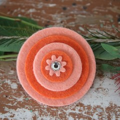 2 Shades of Orange Felt Bling Brooch Felt Brooch Sunrise Brooch