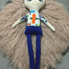 Ray of hope doll - boy with blue pants and blue hair