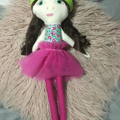 Ray of hope doll - aqua floral with pink skirt and brown hair