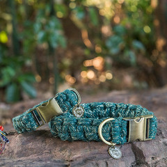 Emerald Shine Metallic Macramé Dog Collar