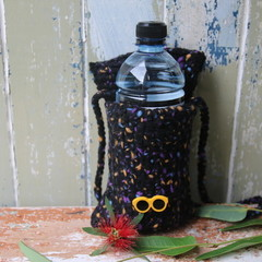 Madeit for Firefighters Yellow Sunglasses Crochet Water Bottle Carrier / Bag