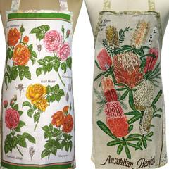 Metro Retro ROSES or BANKSIAS  Vintage Tea Towel Kitchen Apron . Choose One