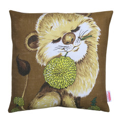 Vintage Retro  - Cute Lion with flower  - Linen Cushion