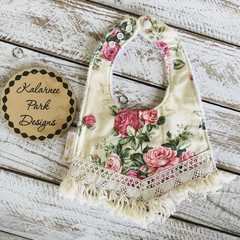 "Boho Baby Bib with Cotton Fringe ""Antique Roses"""