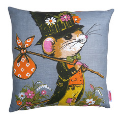 Vintage Retro  - Cute Hobo Mouse  - Cushion