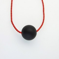 Simplicity- Matte onyx bead on short red silk necklace