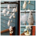 White Christmas Wall Hanging Windcatcher Reindeer Tree Bell Baubles Snow Globe