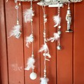 White Christmas Wall Hanging Windcatcher Nutcracker Crystal Bauble Snow Globe