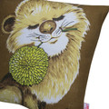 Vintage Retro  - Cute Lion with flower  - Cushion