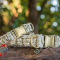 Golden Sands Metallic Macramé Dog Collar