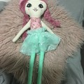 Ray of hope doll - floral with aqua butterflies skirt and dusky pink hair