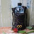 Christmas Gift Yellow Sunglasses Crochet Water Bottle Carrier / Bag