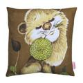 Vintage Retro  - Cute Lion with flower  - Linen Cushion